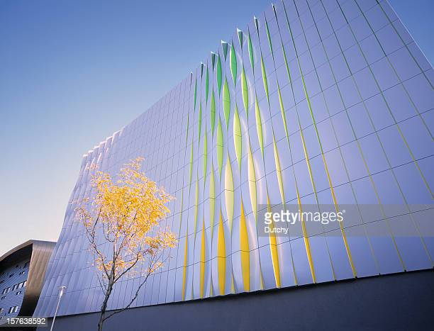 colorful wall of modern office building. - groningen province stock photos and pictures