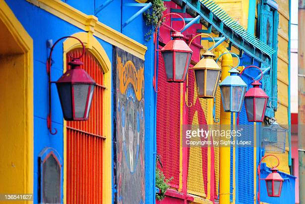 colorful walls and lamp - buenos aires stock pictures, royalty-free photos & images