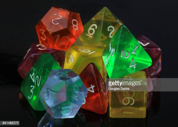 colorful wargaming hobby dice - dungeon stock photos and pictures