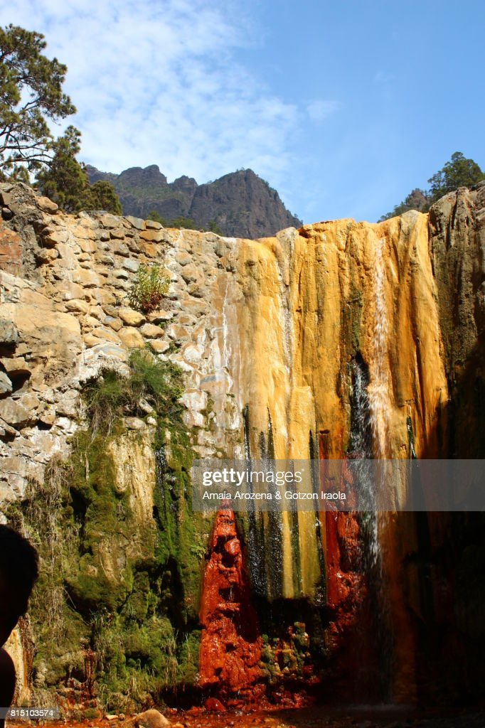 Colorful Waterfall In Caldera De Taburiente National Park On