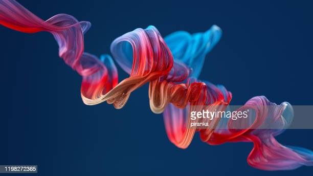 colorful wavy object - digitally generated image stock pictures, royalty-free photos & images