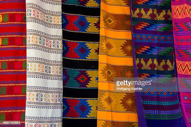 Colorful weavings with Mexican designs in the town of Loreto Sea of Cortez Baja California Mexico