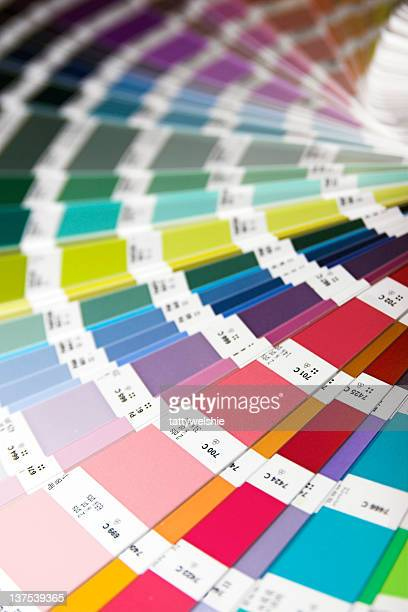 colorful wheel of paint swatches - color swatch stock pictures, royalty-free photos & images