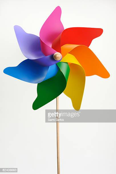 Colorful windmill on white background, Studio
