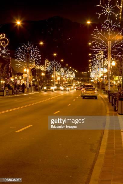 Colorful Winter fest Lights in Gatlinburg Tennessee
