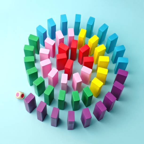 colorful wooden blocks arranged in a spiral