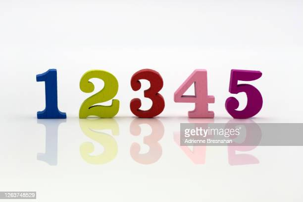 colorful wooden numbers - one through five - number 3 stock pictures, royalty-free photos & images