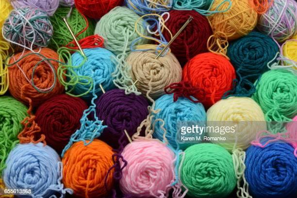 Colorful Yarn Skeins & Balls w/ Knitting Needles