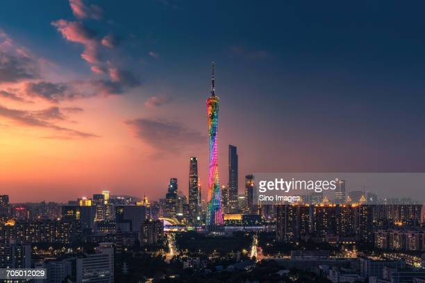 Colorful effects on Canton tower at dusk