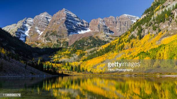colorfull maroon bells and aspen tree lake reflexion - white river national forest stock photos and pictures