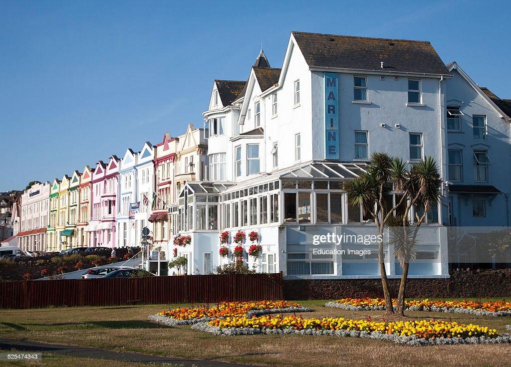 Colorfully Painted Guesthouses And Hotels On The Esplanade Paignton Devon England