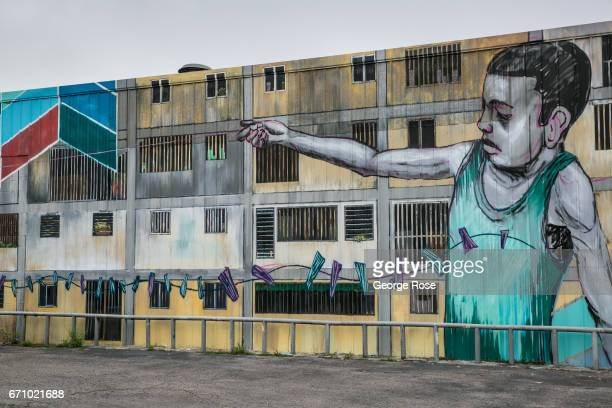 A colorfully weird wall mural adorns the side of a Cesar Chavez Blvd commercial business on April 14 in Austin Texas Austin the State Capital of...