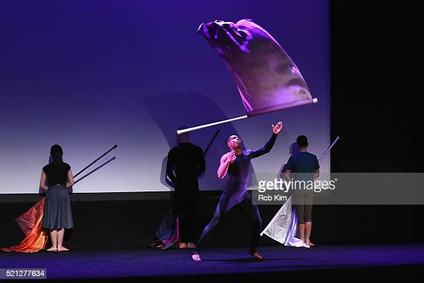 Colorguard dancer Marcus Henry performs onstage at the Contemporary Color Premiere during the 2016 Tribeca Film Festival at BMCC John Zuccotti...
