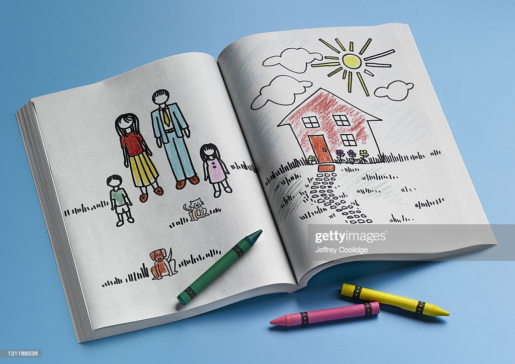 Coloring Book, Home and Family : Stock Photo