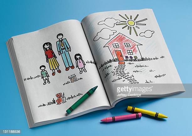 coloring book, home and family - colouring book stock pictures, royalty-free photos & images