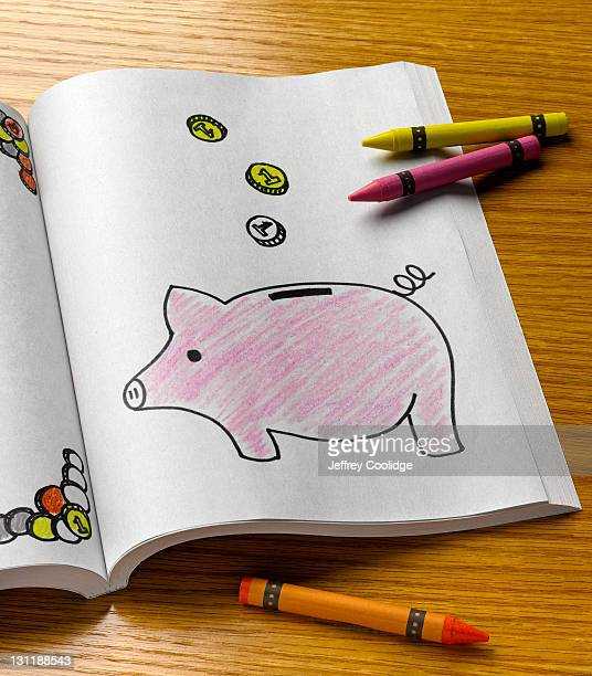 coloring book, piggy bank - colouring book stock pictures, royalty-free photos & images