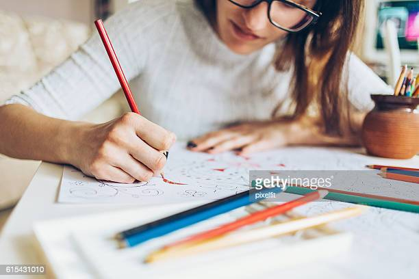 coloring for adults - colouring stock photos and pictures