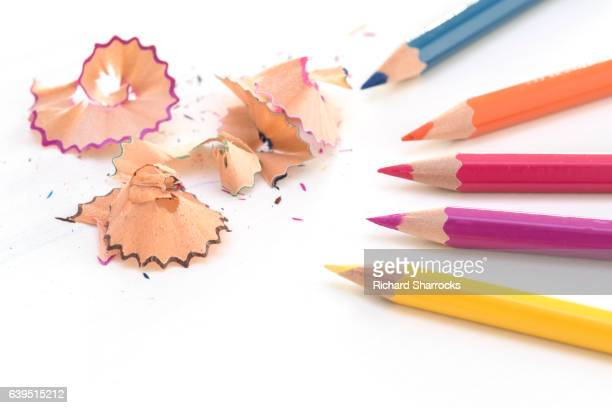 Coloring pencils and shavings