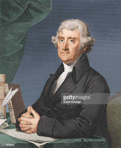 Colorized engraved portrait of American President Thomas Jefferson early 1800s Jefferson served as the third president of the United States from 1801...