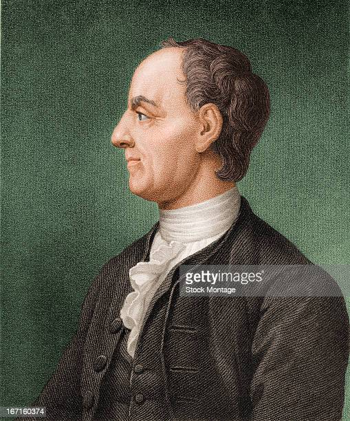 Colorized engraved portrait of Swiss mathematician and physicist Leonhard Euler mid 18th century