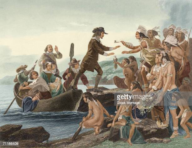 A colorized engraving based on a painting by Alonzo Chappel shows a group of Native Americans as they offer the pipe of peace to British theologian...