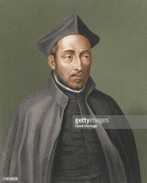Colorized engraving of Spanish religious leader Ignatius of Loyola 1500s Saint Ignatius was the principal founder and first Superior General of the...