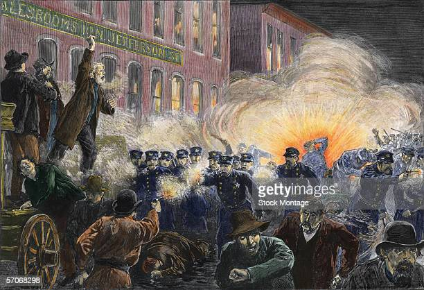Colorized engraving shows a composit scene from the Haymarket Riot where an initially peaceful labor protester devolved into a fullscale riot...
