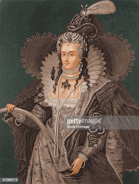 Colorized engraving shows a portrait of Queen Elizabeth I 1560s
