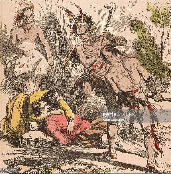 Colorized engraving shows an idealized view of Native American Pocahontas daughter of Chief Powhatan cradles the head of captured colonial settler...
