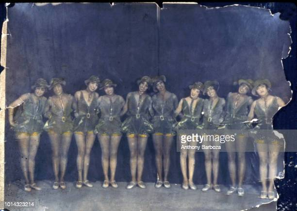 Colorized group portrait of the unidentified members of a chorus line Harlem New York New York 1920s