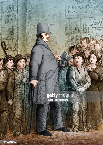 Colorized illustration depicts American former soldier James Henry Lambier, in top hat and tails, surrounded by a crowd, London, England, 1833....