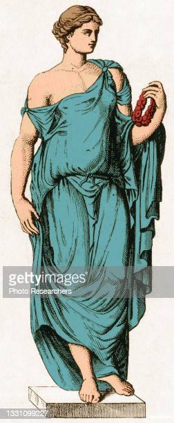 Colorized illustration depicts Flora, the Roman fertility goddess of flowers and spring.