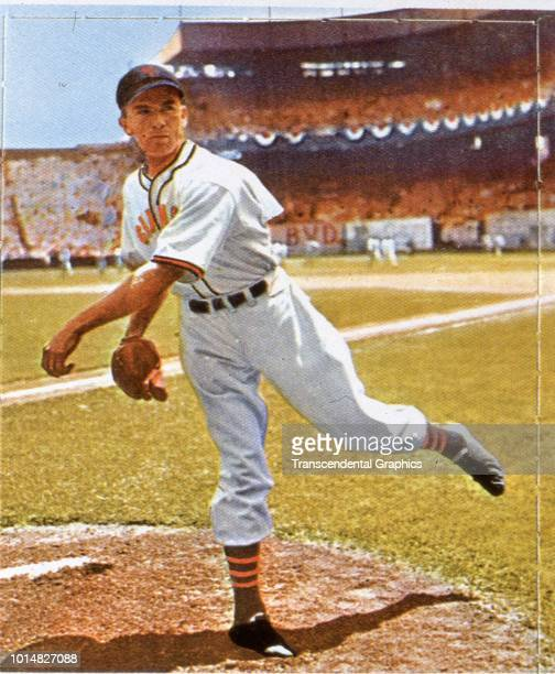 Colorized photograph of American baseball player Carl Hubbell , pitcher for New York Giants, on the pitcher's mound at the Polo Grounds, New York,...