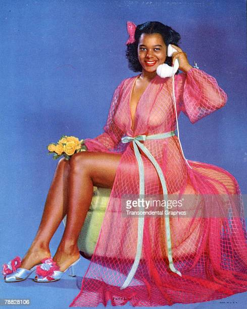Colorized portrait from a calendar entitiled 'Party Line' shows a woman dressed in a pink fishnet robe and high heel slippers as she sits on a round...