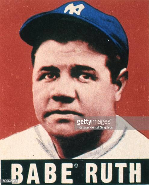Colorized portrait of Babe Ruth wearing a NY Yankees hat