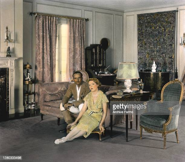 Colorized portrait of married couple, American actor, screenwriter, director, and producer Douglas Fairbanks and Canadian-born American actress and...