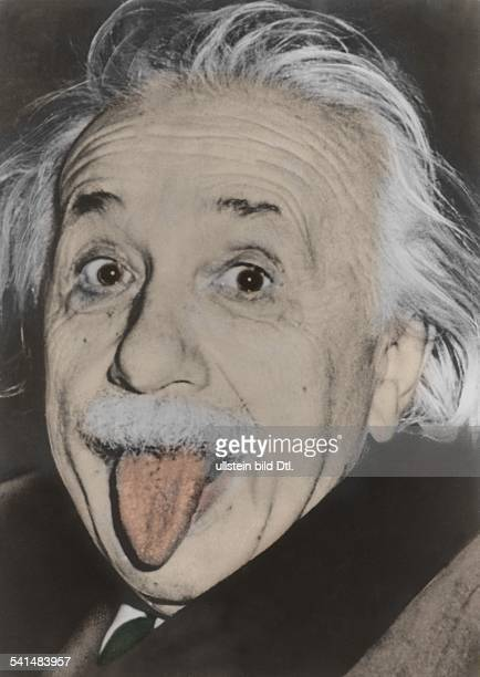 A colorized portrait of physicist Albert Einstein sticking his tongue out 1951