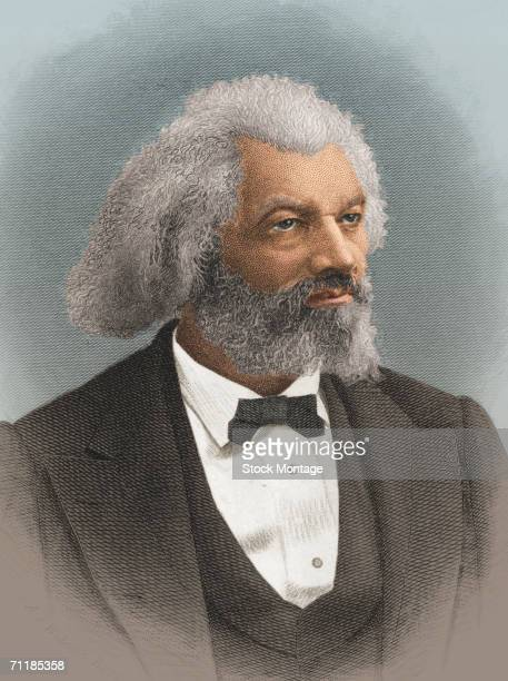 A colorized print shows a portrait of American statesman editor and author Frederick Douglass late 1800s