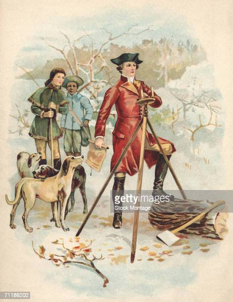 A colorized print shows future American President George Washington watched by two others as he takes measurments as part of his work as a county...