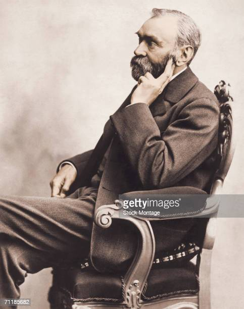 A colorized profile portrait shows Swedish inventor and philanthropist Alfred Nobel 1833 1896 as he sits in a chair 1800s Nobel established the fund...