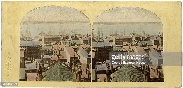 Colorized stereoscopic view of ships moored in New York Harbour seen from Trinity Church looking towards New Jersey Built in 1846 Trinity Church was...