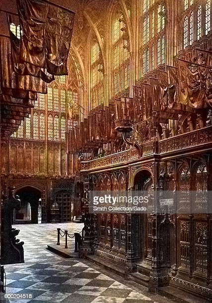 Colorized view of the chapel and tomb of King Henry VII in Westminster Abbey United Kingdom 1922