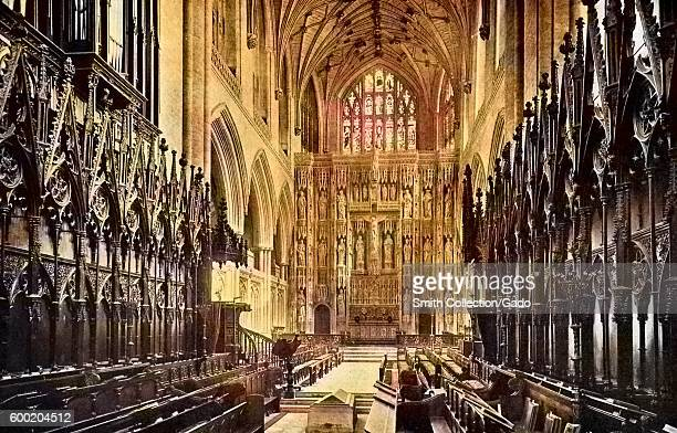 Colorized view of the interior of Winchester Cathedral United Kingdom 1922