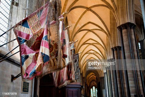 Colors and flags of the 99¡ Regiment of Duke of Edinburgh St Mary's Cathedral Salisbury Wiltshire England Great Britain