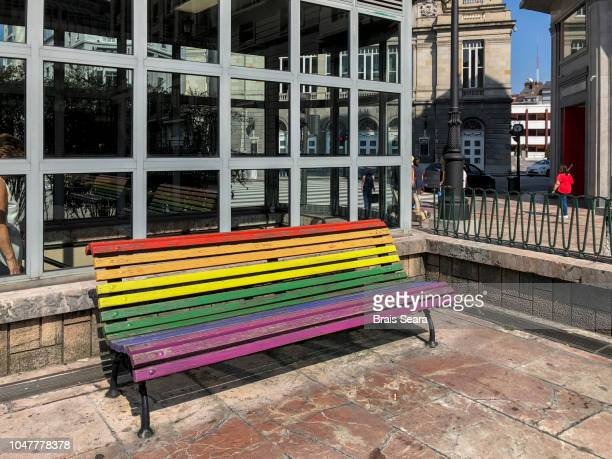 lgbt colors in a bench, oviedo, spain. - oviedo stock pictures, royalty-free photos & images