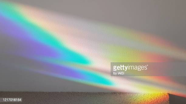 colors of the rainbow, refracted light pattern - refraction stock pictures, royalty-free photos & images