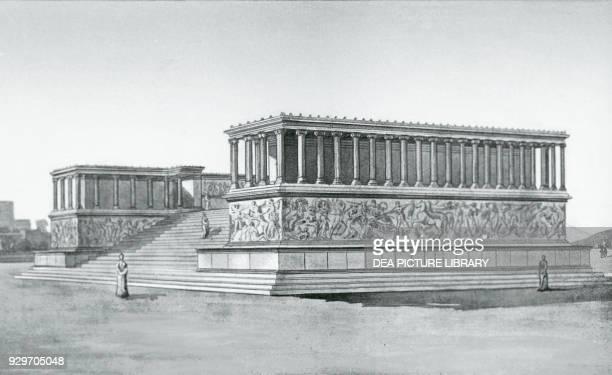 Colossal Altar of Zeus, Pergamon, Turkey, illustration, 19th century.