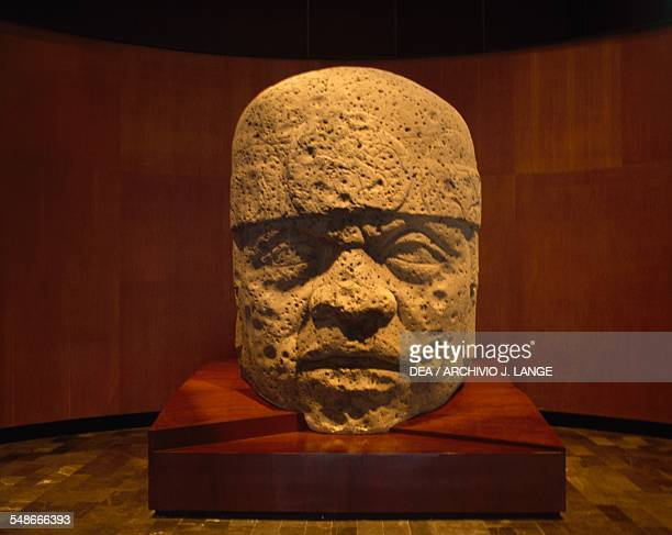 Colossal head from the state of Veracruz Olmec civilisation 13th10th century BC Mexico City Museo Nacional De Antropología