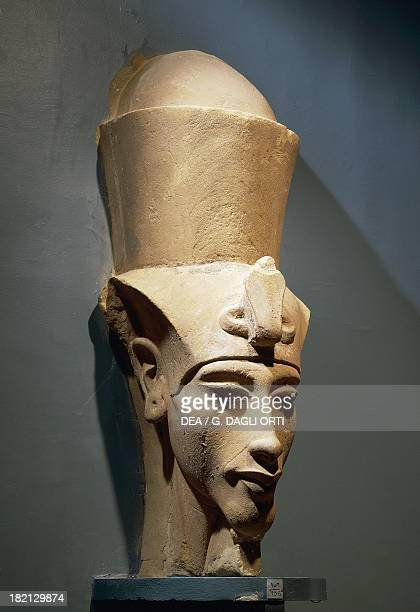 Colossal head of Amenhotep IV with nemes and double crown sandstone statue from Karnak Egyptian civilisation New Kingdom Dynasty XVIII Luxor Ancient...
