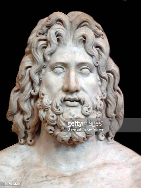 Colossal marble sculpture of the head of Zeus From Tivoli found in the villa of the Roman Emperor Hadrian